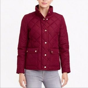 J. Crew Quilted Tack Jacket Burgundy XXS
